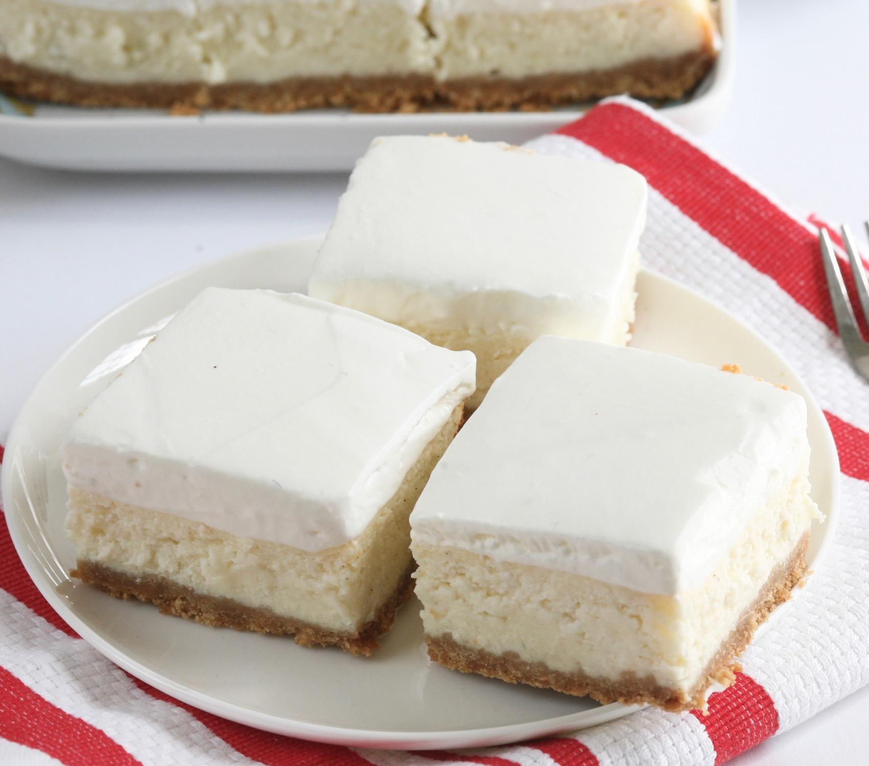 ריבועי עוגת גבינה ולימון